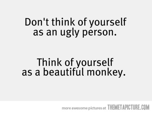 Ugly Sayings Don't think of yourself as an ugly person think of yourself as a beautiful monkey