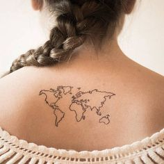 Ultimate World Map Tattoo On Back For Women