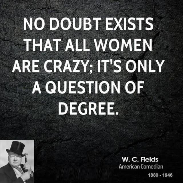Women Quotes No Doubt Exists That All Women Are Crazy; It's Only A Question Of Degree W.C. Fields
