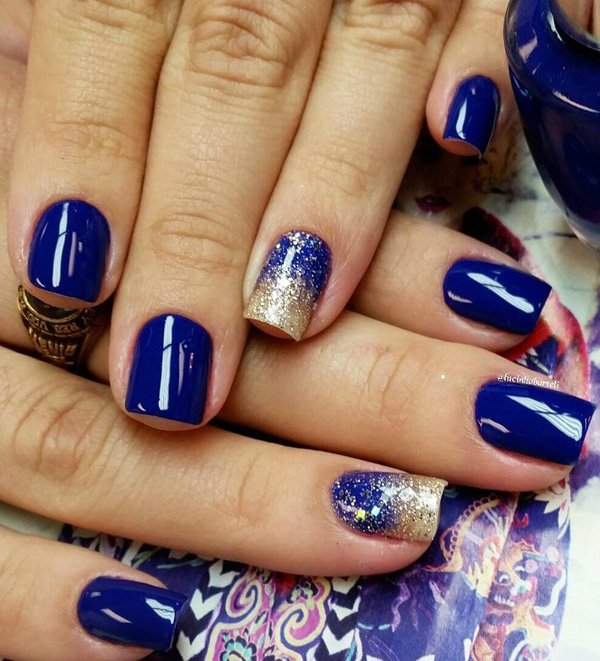 Wonderful Blue Nails With Golden Paint