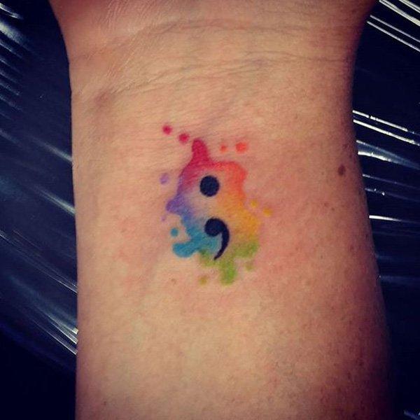 horrible Semicolon Tattoo Design ON ARm For Girls
