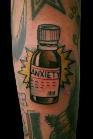 lovely anxiety tattoo on arm for men's