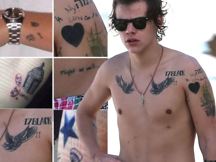 nice harry styles tattoo showing on full body