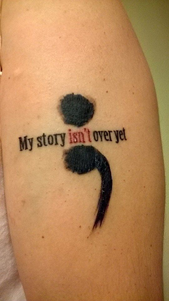 terrific Semicolon Tattoo Design On aRm For Girls
