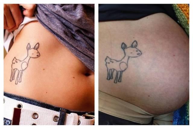 terrific pregnancy tattoo on ribs