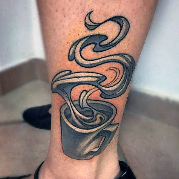 Attractive Coffee Cup Tattoo For men's leg