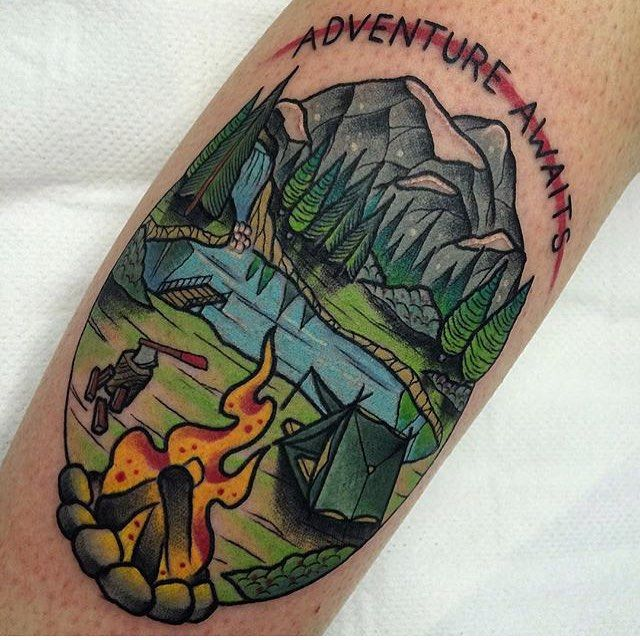 Awesome Camping Tattoos On leg for Women