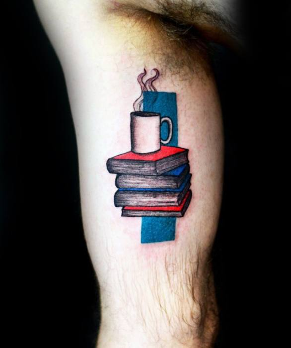 Brilliant Coffee Cup Tattoo On Arm for Guys