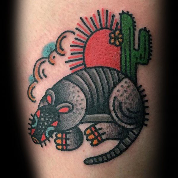 Coolest Armadillo Tattoo On Leg for girls