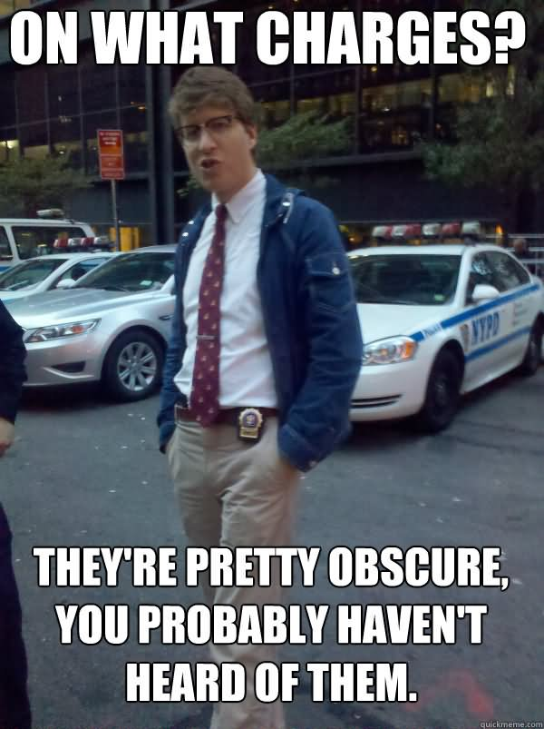 Cop Meme On what charges they're pretty obscure