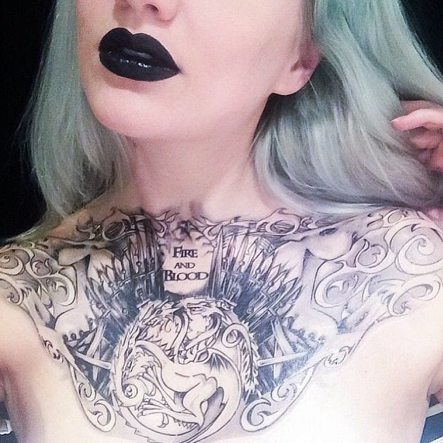 Crazy Game Of Thrones Tattoo Fir Girl's chset