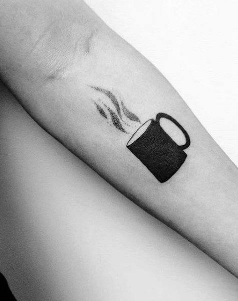 Creative Coffee Cup Tattoo On Arm for ladies