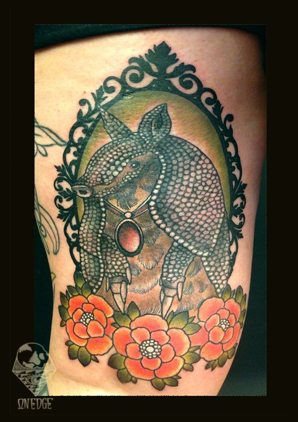 Custom Armadillo Tattoo On Thigh for Women