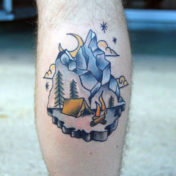 Extremely Camping Tattoos On Leg for Boys