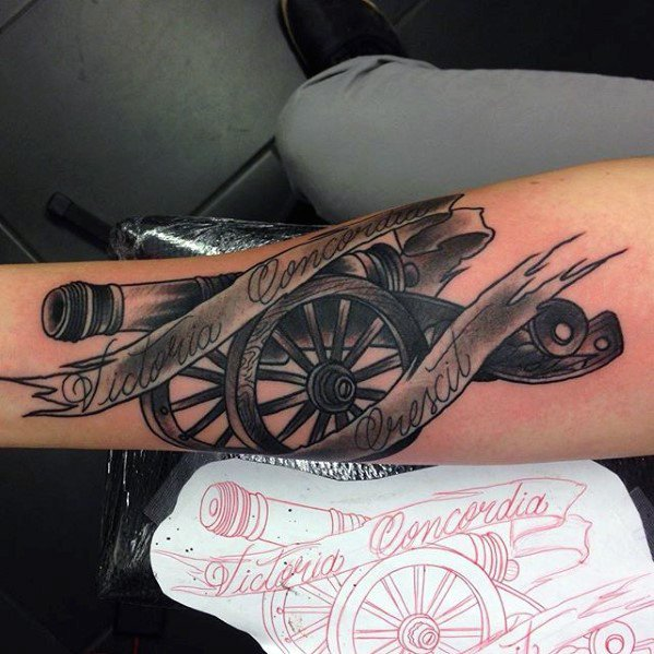 Extremely Cannon Tattoo On arm for Womens