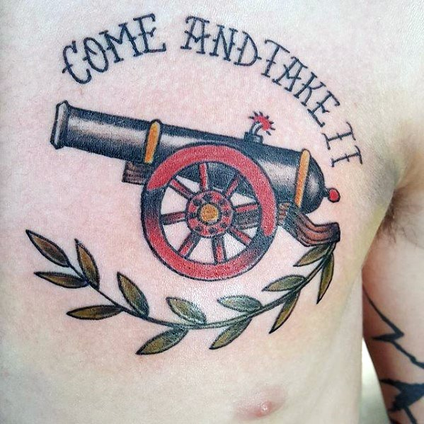 Fabulous Cannon Tattoo On Chest for mens