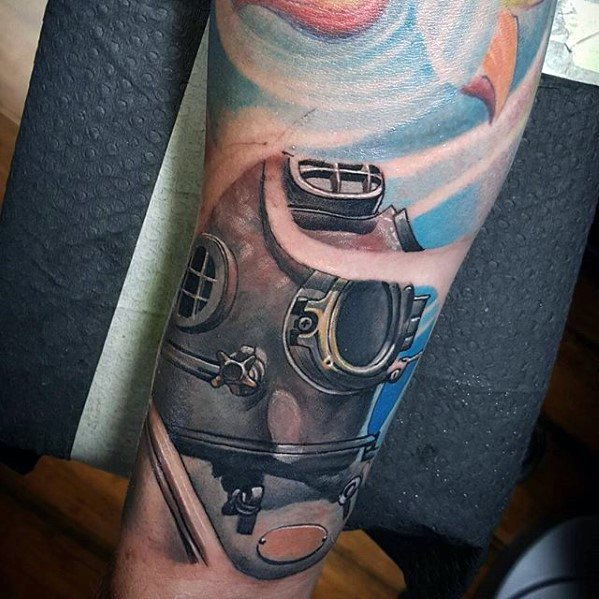 Fabulous Diving Helmet Tattoo On Arm for Boys