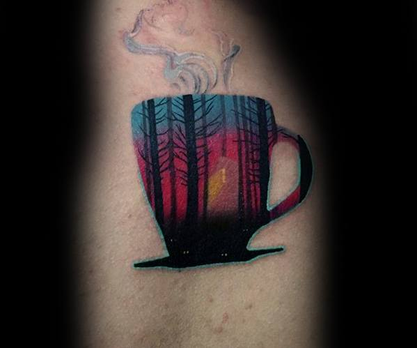 Famous Coffee Cup Tattoo On Arm for For Boys only