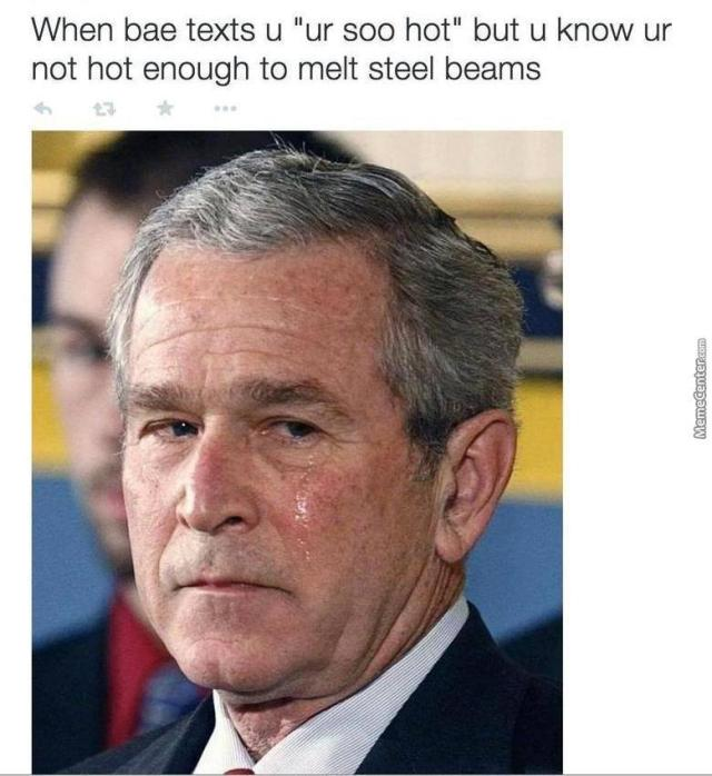 George Bush Meme When bae texts u ur too hot