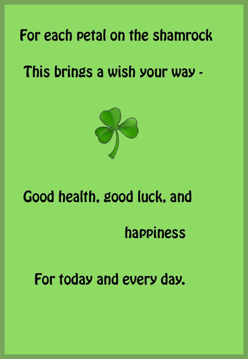 Good Health And Good Luck St. Patrick's Day Wishes Card