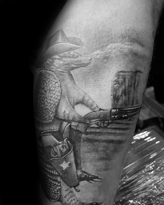 Great Armadillo Tattoo On Leg For Boys