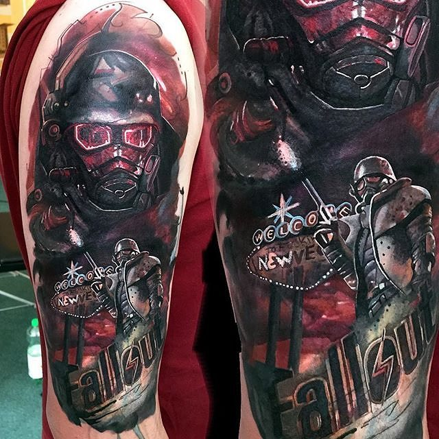 Great Fallout Tattoo On Shoulder For men
