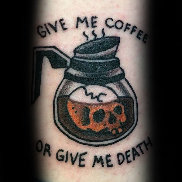 Groovy Coffee Tattoo On Arm For Tattoo fans