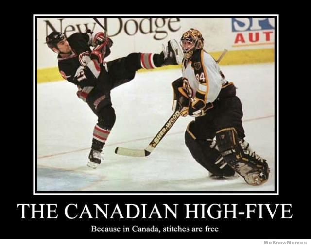 Hockey Memes The Canadian high five