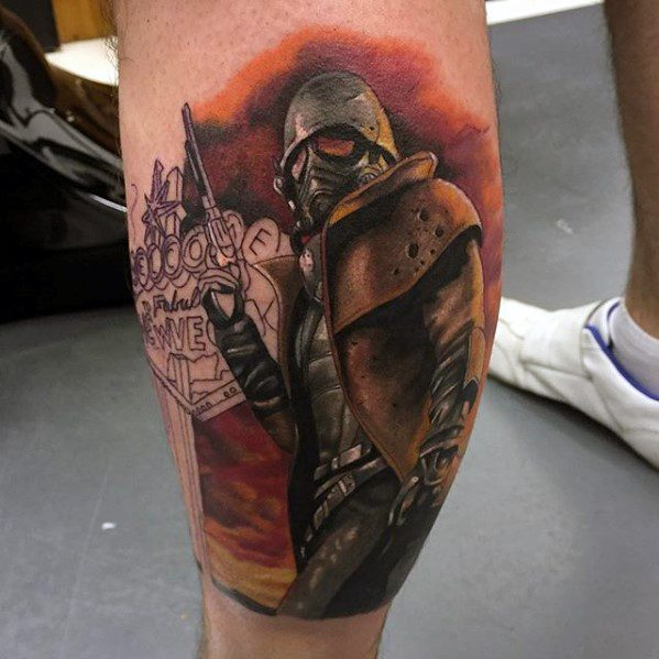 Horrible Fallout Tattoo For men's leg