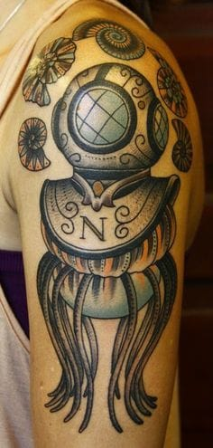Incredible Diving Helmet Tattoo On shoulder for Girls