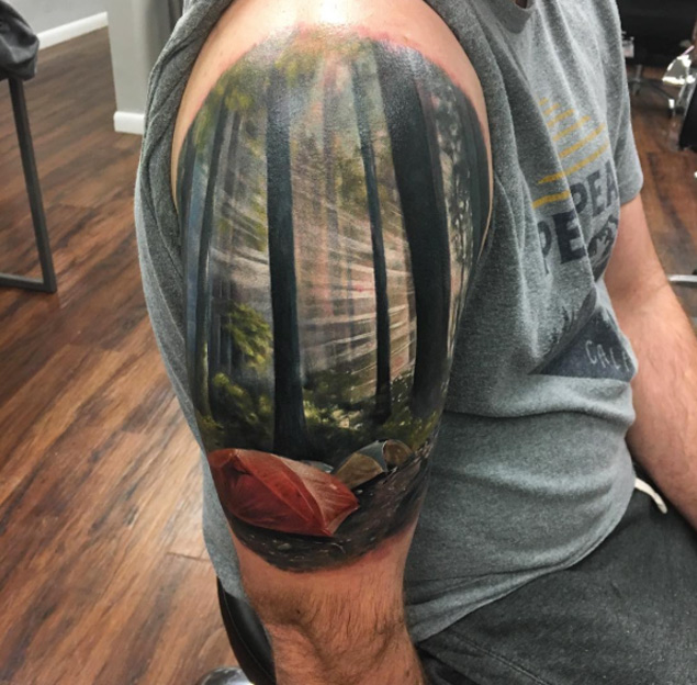 Inspiring Camping Tattoos On Shoulder 3d tattoo