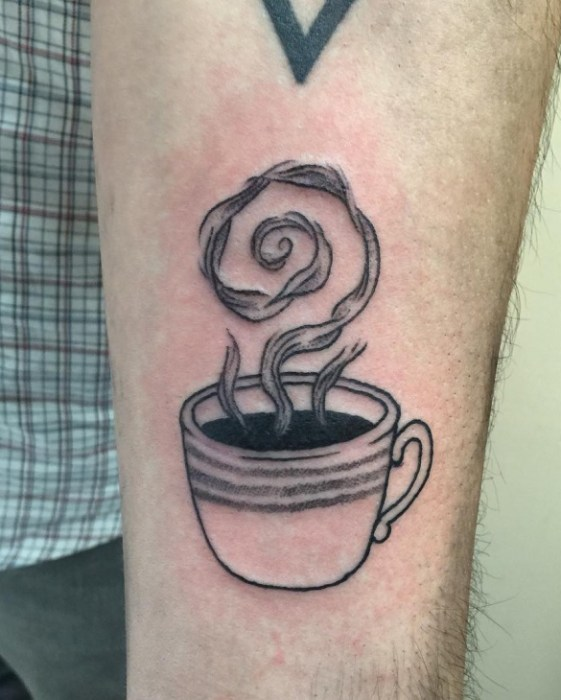 Inspiring Coffee Tattoo On Arm for For Boys