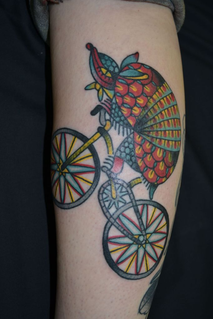 Latest Armadillo Tattoo On Leg for Girls
