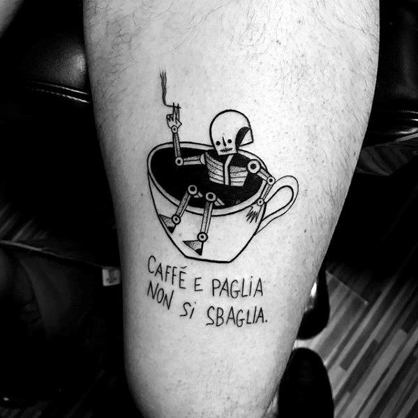 Lovely Coffee Cup Tattoo On leg for Boy