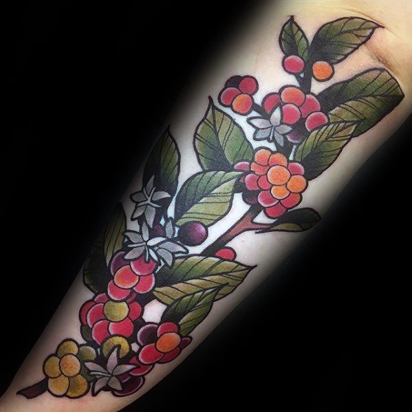 Lovely Coffee Tattoo On Arm For Womens