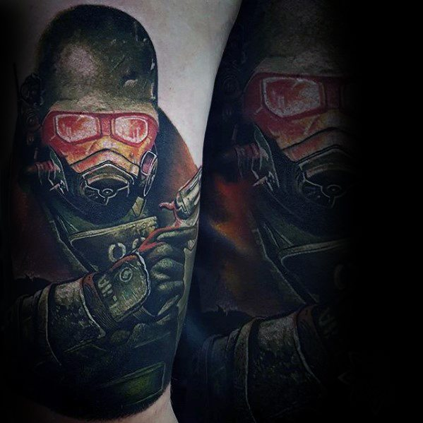 Lovely Fallout Tattoo On shoulder for guy