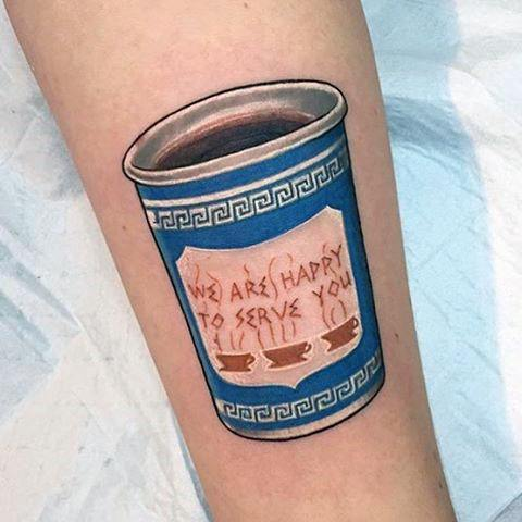 Maori Coffee Cup Tattoo On Arm for For Girl