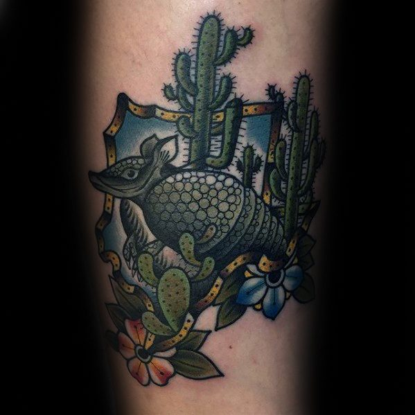 Marvel Armadillo Tattoo On Leg for girls