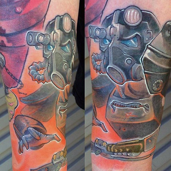 Marvelous Fallout Tattoo On arm for Boy