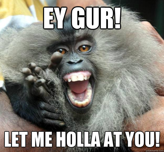Monkey Meme Ey gur let me holla at you
