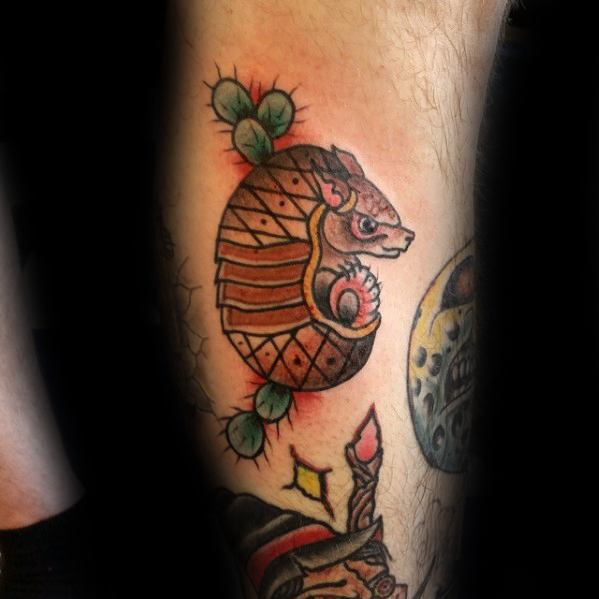 Most beautiful Armadillo Tattoo On Leg for boys