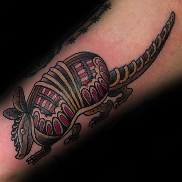 Motivational Armadillo Tattoo On arm for men's