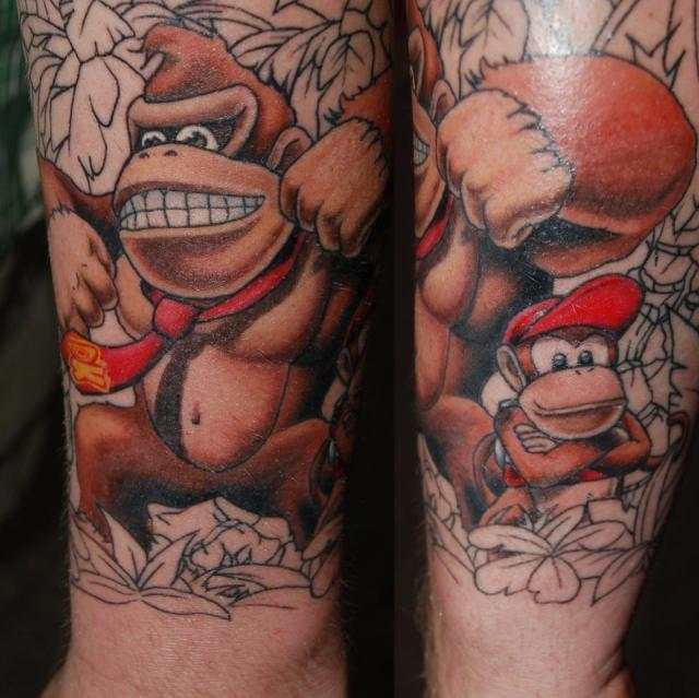 Motivational Donkey Kong Tattoo On Arm for men