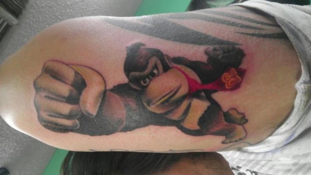 Nice Donkey Kong Tattoo On Arm for guy