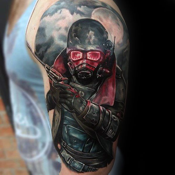 Nice Fallout Tattoo On Shoulder For men