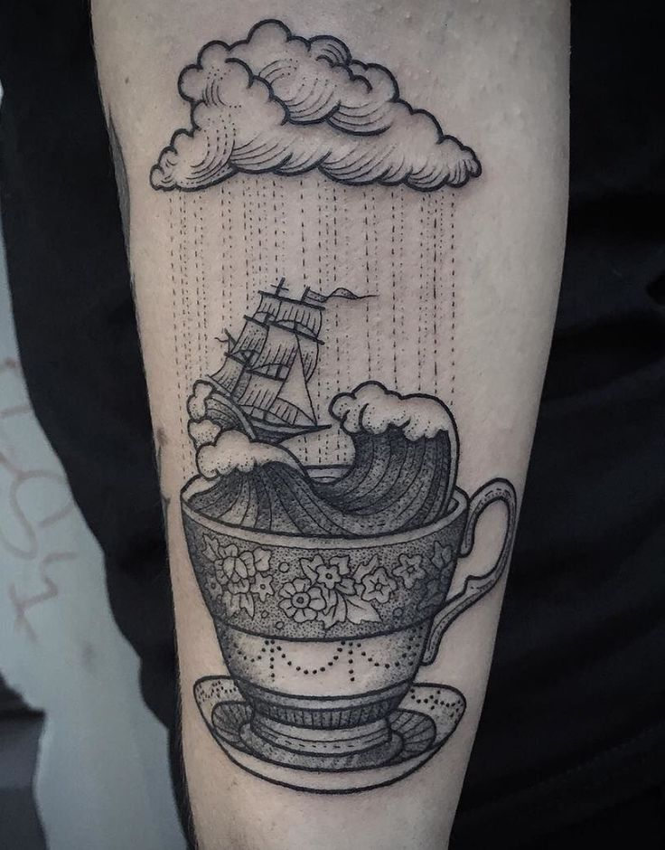 Passionate Coffee Cup Tattoo On Arm for Girls