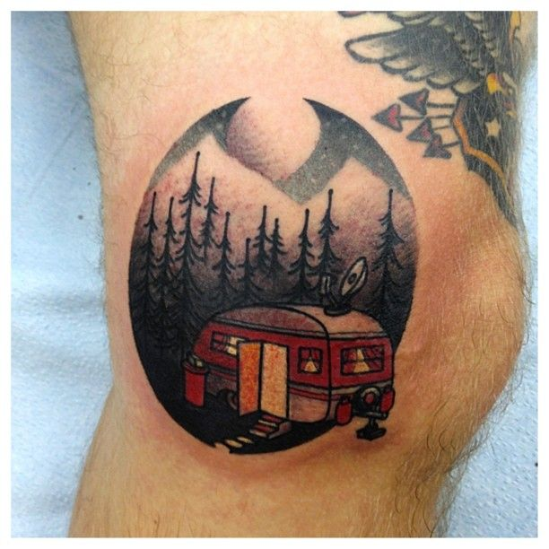Perfect Camping Tattoos on leg for Tattoo fans