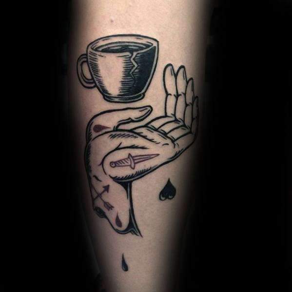 Popular Coffee Cup Tattoo On Arm for For Beautiful guys