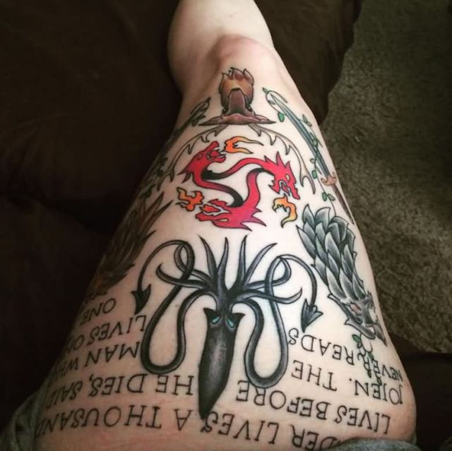Realistic Game Of Thrones Tattoo On thigh for girl