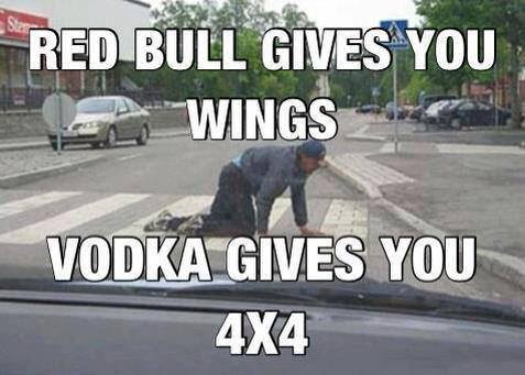 Red bull gives you wings vodka gives you Car Meme